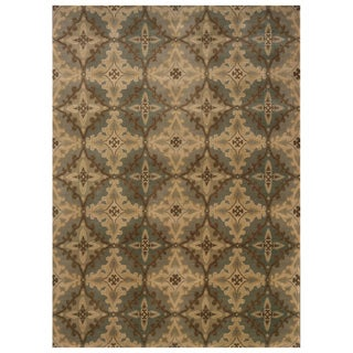 Traditional Panel Ivory/ Blue Rug (5'3 x 7'6)