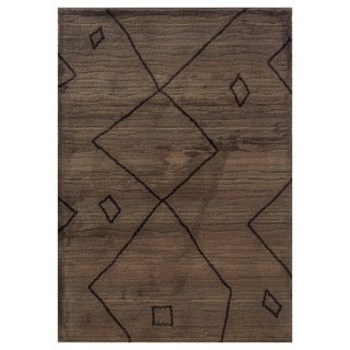 "Old World Tribal Machine-Woven Brown/Ivory Rug (4' x 5'9"")"
