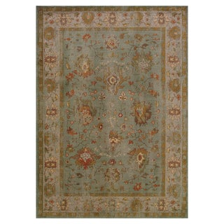 Distressed Oriental Blue/ Grey Rug (5'3 x 7'6)