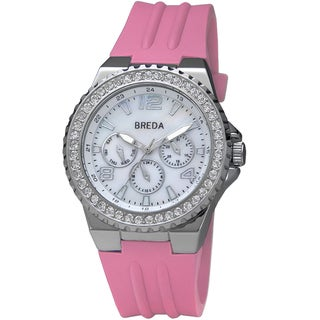 "Breda Women's ""Ashley"" Bold Pink Silicone Band Watch"