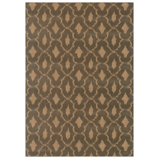 Ikat Panel Blue/ Ivory Nylon/ Polypropylene Rug (5'3 x 7'6)