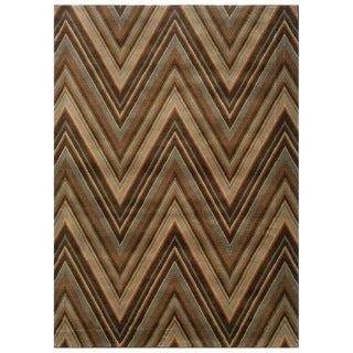 Chevron Brown/ Blue Rug (5'3 x 7'6)