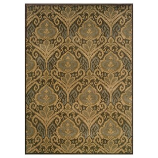Floral Panel Green/ Ivory Rug (5'3 x 7'6)