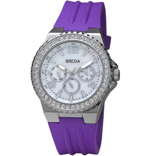 Breda Women's 'Ashley' Purple Thick Bold Bezel Silicone Band Watch