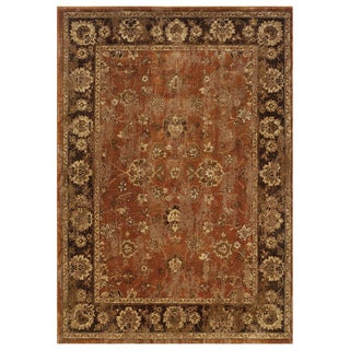 Distressed Oriental Orange/ Brown Rug (5'3 x 7'6)