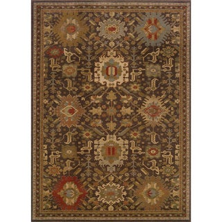 Tribal Brown/ Multi Oriental Rug (6'7 x 9'6)