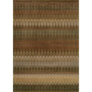 Geometric Brown/ Green Rug (6'7 x 9'6)