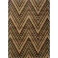 Chevron Brown/ Blue Rug (6'7 x 9'6)