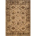 Distressed Oriental Ivory/ Brown Rug (7'10 x 10'10)