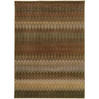 Geometric Brown/ Green Nylon/Polypropylene Rug (9'10 x 12'10)