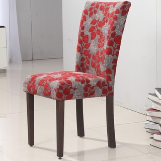 Elegant Red Floral Parson Chair (Set of 2)
