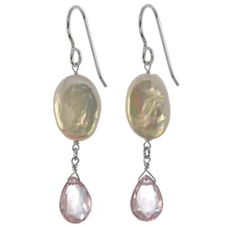 Ashanti Silver Freshwater Coin Pearl, Pink Quartz Earrings (Sri Lanka)