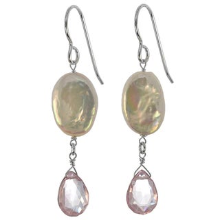 Ashanti Sterling Silver Genuine Freshwater Coin Pearl, Pink Quartz Earrings (Sri Lanka)
