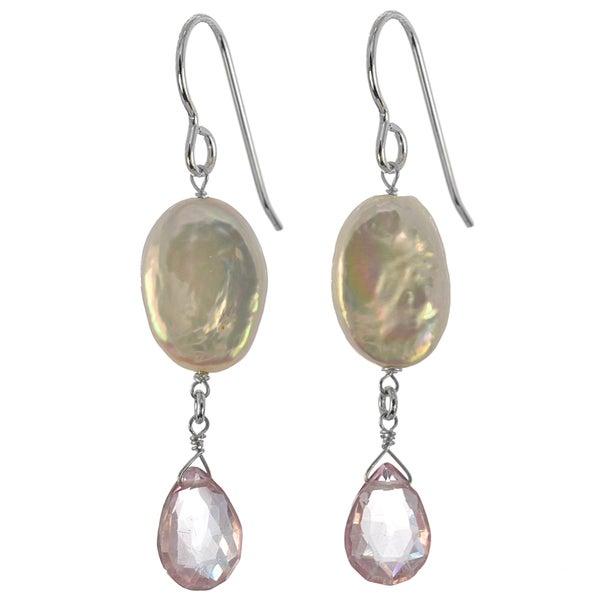 Ashanti Sterling Silver Genuine Freshwater Coin Pearl, Pink Quartz Earrings (Sri Lanka)