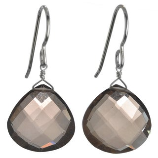 Ashanti Silver Smokey Quartz Earrings (Sri Lanka)