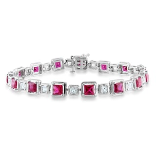 Miadora Sterling Silver Created Ruby and White Sapphire Bracelet