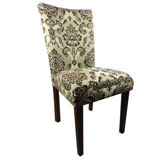 Elegant Brown/Golden Damask Parson Chairs (Set of 2)