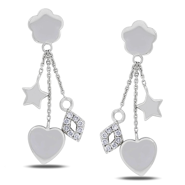 Miadora 14k White Gold 1/4ct TDW Diamond Star Heart Earrings (G-H, SI1-SI2)
