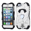 BasAcc Curved Lines White/ Black Car Hybrid Case for Apple iPhone 5