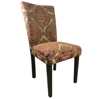 Elegant Red/Golden Damask Parson Chairs (Set of 2)