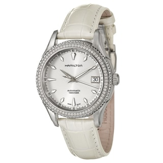 Hamilton Women's 'Jazzmaster' White-Leather Stainless-Steel Swiss Automatic Watch