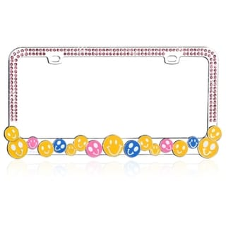 BasAcc Colorful HAPPY FACE with Crystals Metal License Plate Frame