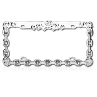 BasAcc Carved Skull Chrome Metal License Plate Frame