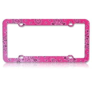 BasAcc Classical Flowers Hot Pink Plastic License Plate Frame