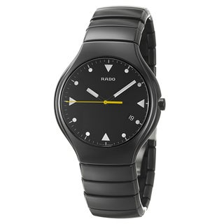 Rado Men's 'Rado True' Push-Button Black Ceramic Swiss Quartz Watch