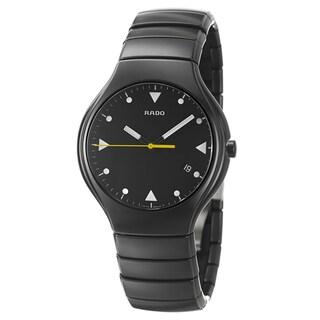 Rado Men's 'Rado True' Push-Button Black Ceramic Swiss Quartz Watch