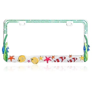 BasAcc Colorful Sea Fish with Blue Water Crystals License Plate Frame