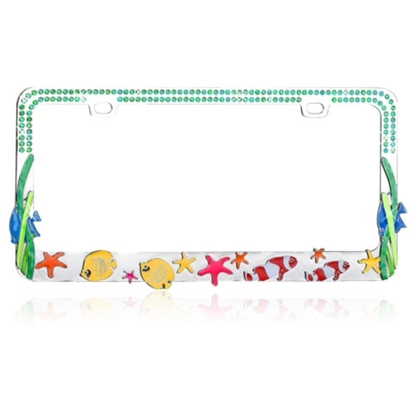 INSTEN Colorful Sea Fish with Blue Water Crystals License Plate Frame
