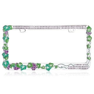 BasAcc Grape Vine with Purple Crystals Metal License Plate Frame