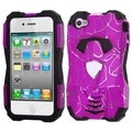 BasAcc Curved Lines Hot Pink/ Black Hybrid Case for Apple iPhone 4/ 4S
