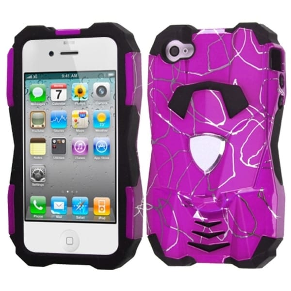 INSTEN Curved Lines Hot Pink/ Black Hybrid Phone Case Cover for Apple iPhone 4/ 4S