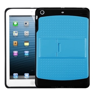 BasAcc Baby Blue/ Solid Black Gummy Stand Case for Apple iPad Mini