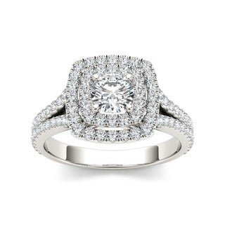 De Couer 10k Gold 1ct TDW Diamond Double Halo Engagement Ring (H-I, I2)