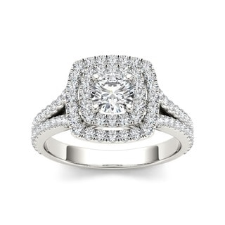 De Couer 14k Gold 1ct TDW Diamond Double Halo Engagement Ring (H-I, I2)