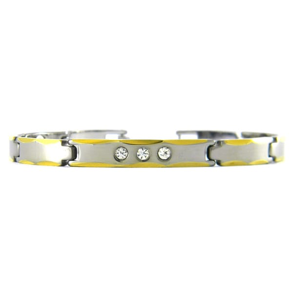 Obsessed Jewelry Two-tone Tungsten Cubic Zirconia Fashion Bracelet
