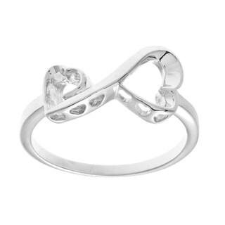La Preciosa Sterling Silver Double Heart Infinity Ring