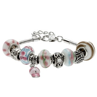 La Preciosa Silverplated Crystal and Glass Charm Bracelet