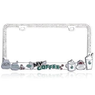 BasAcc Dimensional Coffee Beans Crystal Metal License Plate Frame