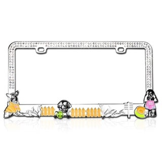 BasAcc Doggy Playground White Crystals License Plate Frame