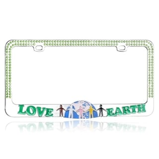 BasAcc Go Green LOVE EARTH with Crystals Metal License Plate Frame
