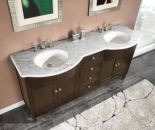 Silkroad Exclusive 72-inch Carrara White Marble Stone Top Bathroom Double Sink Cabinet Vanity