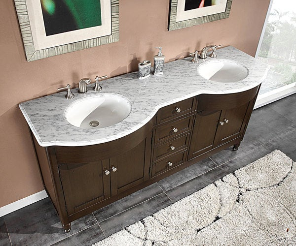 Silkroad Exclusive 72 Inch Carrara White Marble Stone Top Bathroom Double Sin