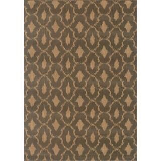 Ikat Panel Blue/ Ivory Rug (6'7 x 9'6)