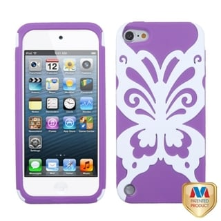 BasAcc Ivory/ Purple Butterflykiss Hybrid Case for Apple iPod Touch 5