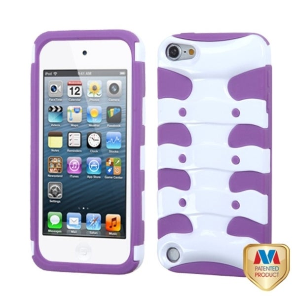 INSTEN Ivory/ Purple 3D Fishbone Hybrid iPod Case Cover for Apple iPod Touch 5