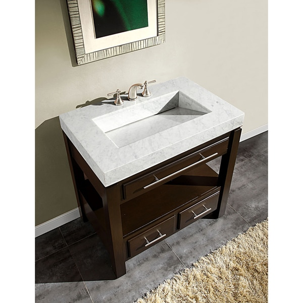 exclusive 36 inch carrara white marble stone top bathroom vanity